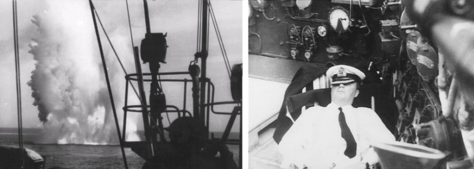 Throughout operations off Greece and Crete, Perth routinely came under aerial attack. Long hours were spent closed up at action stations and during lulls in the action her captain snatched precious sleep in a deck chair on the compass platform (AWM P01915.007)