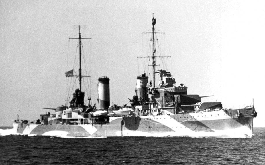 HMAS Perth wearing her distinctive disruptive camouflage paint scheme.