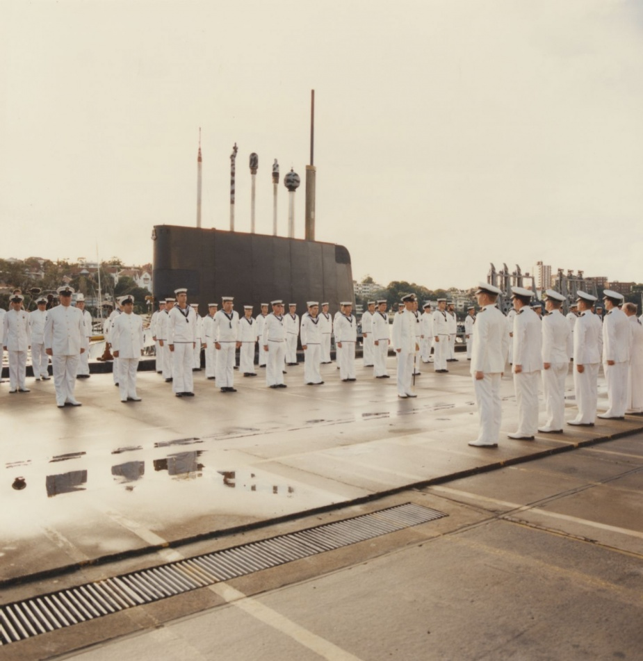 Ceremonial divisions at Platypus with one of the six Oberon class submarine visible in the background.