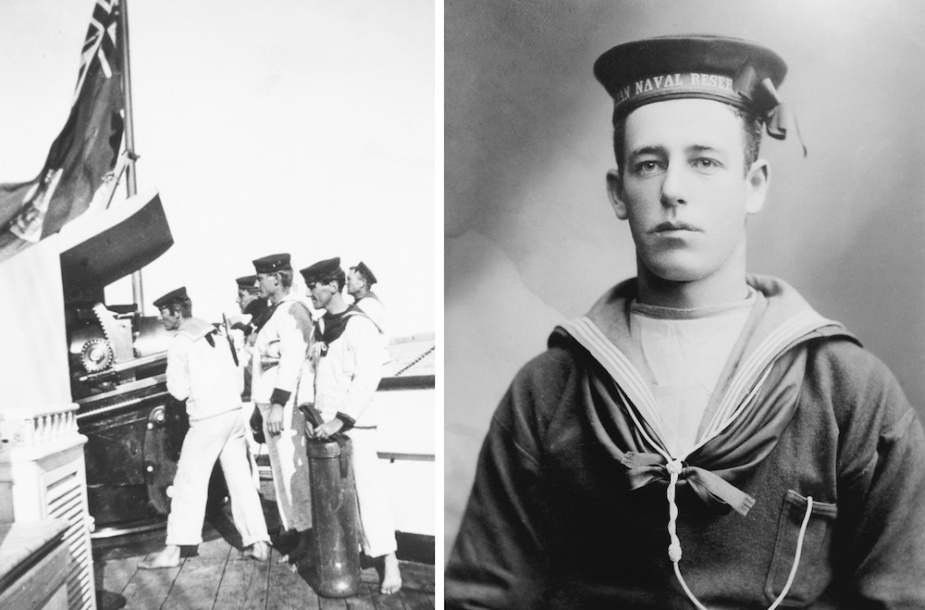 Left: Gun drill onboard Protector. Right: Able Seaman Walter Taylor served in Protector throughout the deployment to China (AWM09521.002)