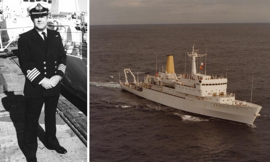 Left: Captain Ian Pullar, RAN standing in front of HMAS Cook. Right: HMAS Cook at sea in 1981.