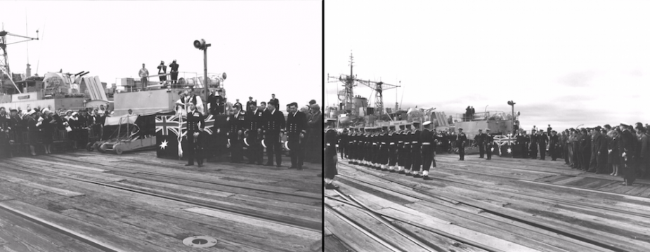 Queenborough's recommissioning ceremony at Williamstown Naval Dockyard, 28 July 1966.