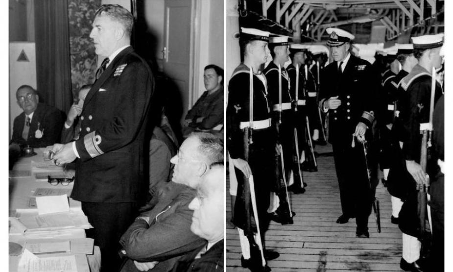 Left: Rear Admiral Eccles opens the RSL Conference in Sydney in 1950. Right: Rear Admiral Eccles inspects the guard on board HMAS Sydney. (Fairfax Media)