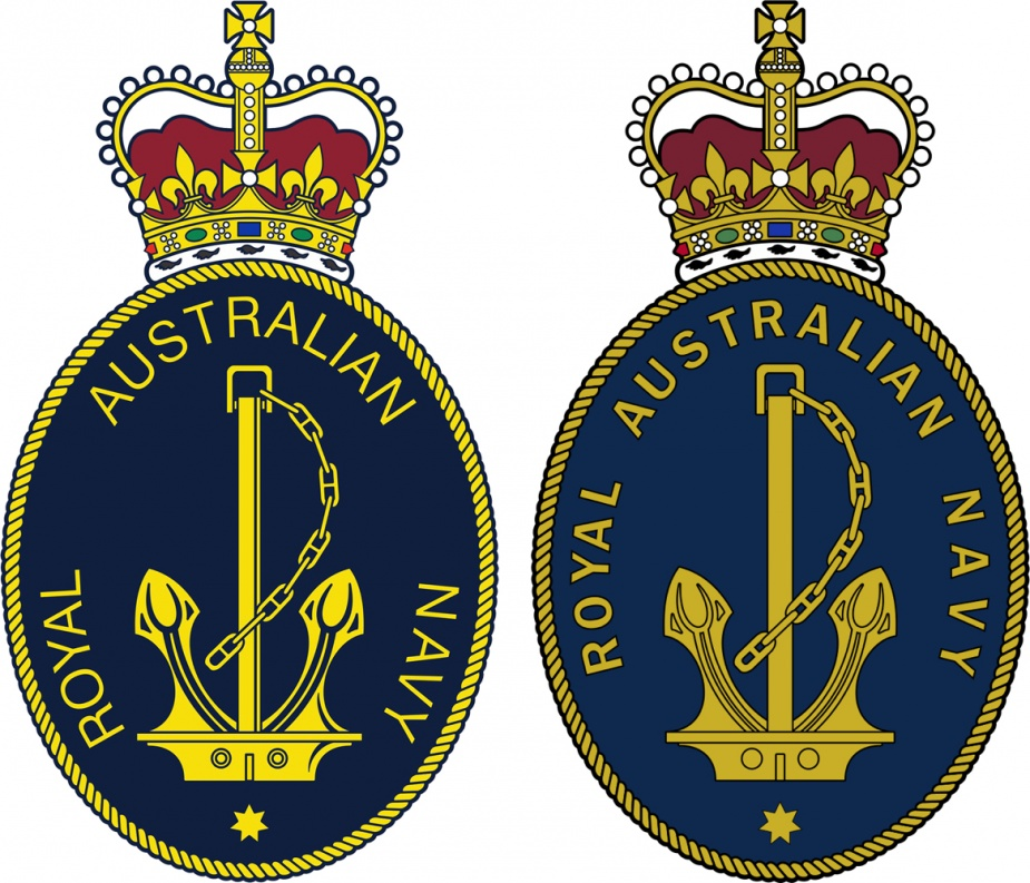 Left: The official badge of the RAN 1980. Right: The official badge of the RAN 2002, note the closer spacing within the words.