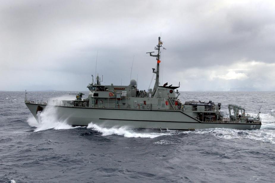 HMAS Yarra in transit to Jervis Bay.