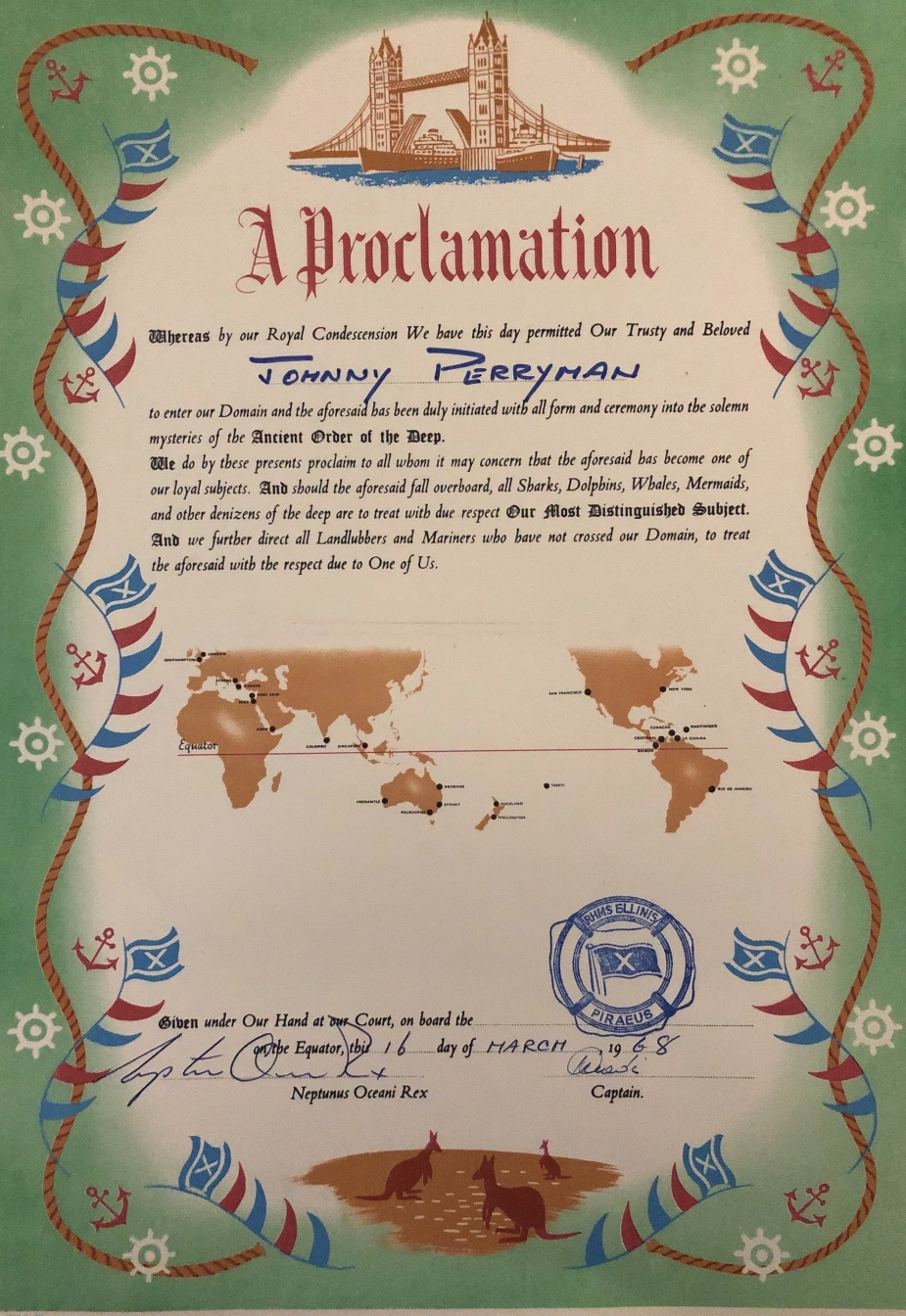 Crossing the equator certificates were regularly presented to travellers onboard passenger ships as may be seen in the example above.