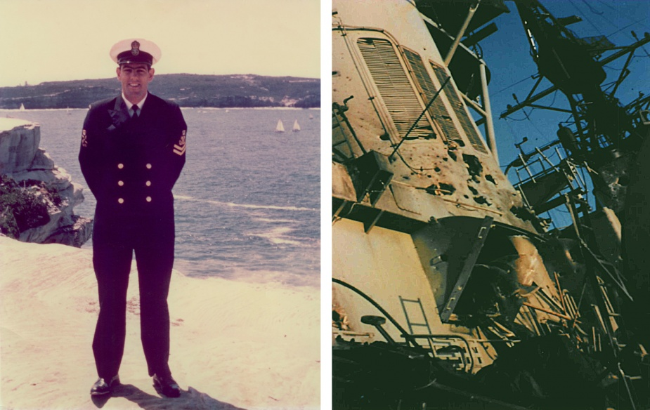 Left: Ray Hunt, a popular member of the Chief Petty Officer's mess in HMAS Hobart (II) (seen here as a Petty Officer) was also killed as a result of the aerial attack on Hobart. Right: Damage to HMAS Hobart (II)'s aft funnel.
