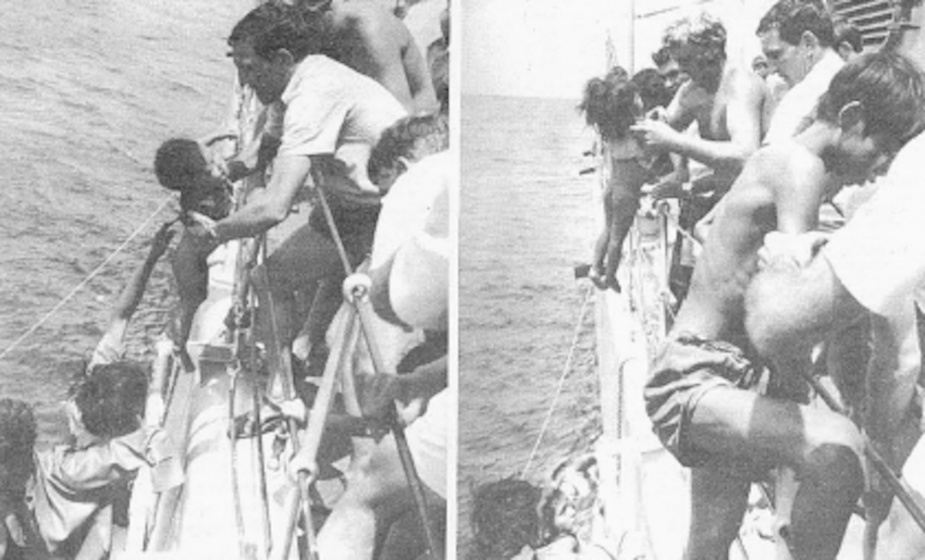 Swan make Navy News headlines again June 27 1980 after their rescue of 72 refugees. Left: CPO Graeme Donald lifts one of the first regugees which was a baby less than 12 months old. Right: Ships company assisting the rest of the refugees onboard.