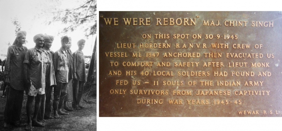 Left: Some of the Indian soldiers liberated by the crew of HDML 1347. Right: After the war a commemorative plaque was dedicated to the memory of the Indian soldiers by their former commanding officer.