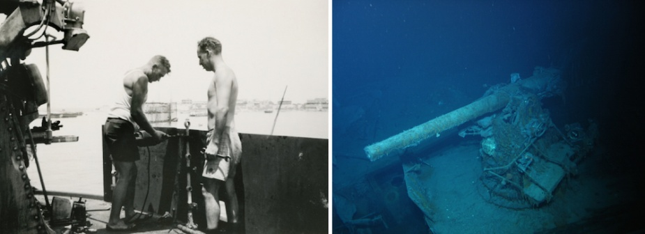 Left: In July 1940 Sydney's shipwrights secured 3/8-inch steel plate to the guardrails surrounding the 4-inch gun deck in an effort to provide guns crews with a measure of protection. Right: Gun 'S2' in situ at the aft end of the gun deck. Beneath its gun barrel can be seen remnants of portions of the 3/8-inch plate seen being fitted at left.