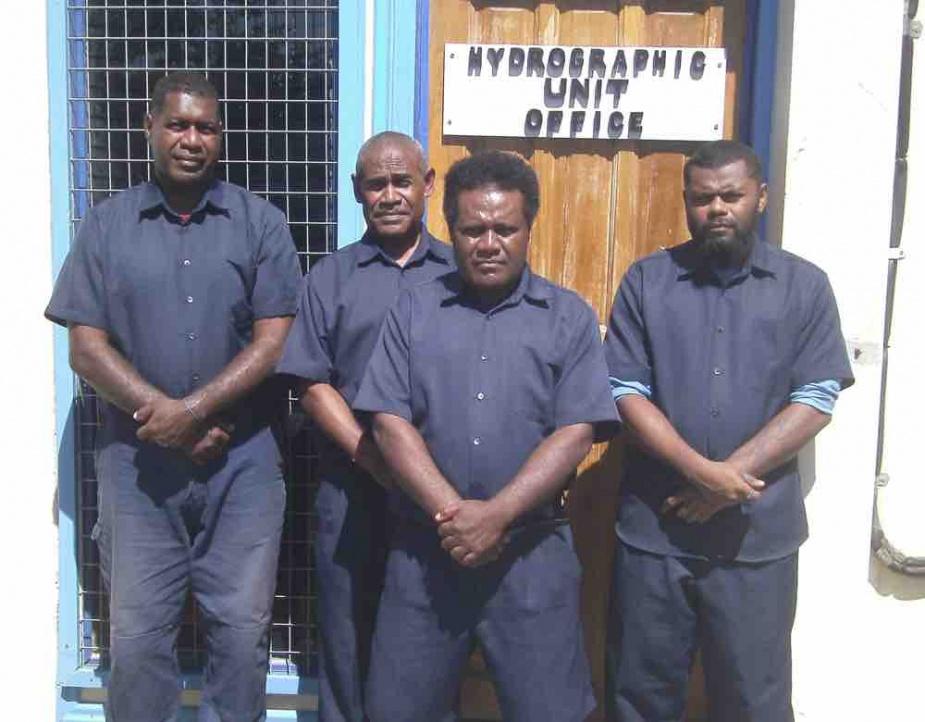 Solomon Island Hydrographic Unit Staff 2018. (L-R): Dalomae, Olisukulu, Hanuagi and Mani.