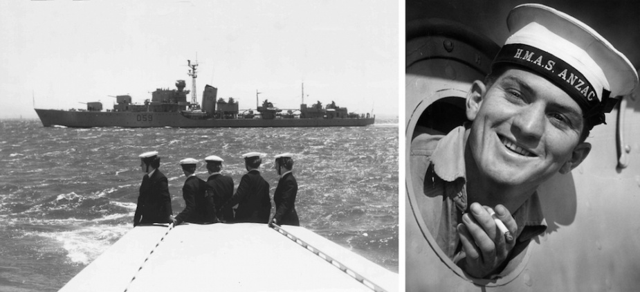 Left: Women of the Royal Australian Naval Service look out at Anzac II. Right: Leading Seaman Gordon Hope leans out of a porthole of Anzac II smoking a cigarette. Image: State Library Victoria (H98 100 3327)