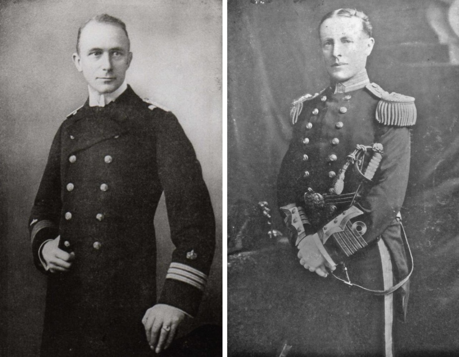 Left: Kapitän Karl von Müller. Right: Captain J.C.T. Glossop