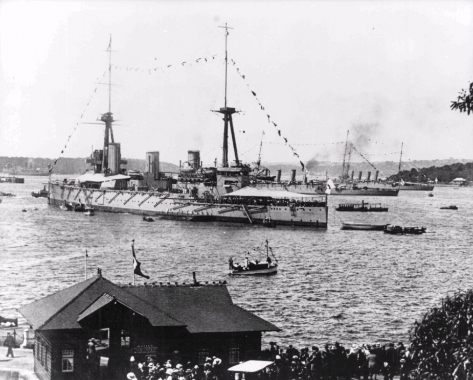 HMAS Australia entering Sydney Harbour for the first time on 4 October 1913