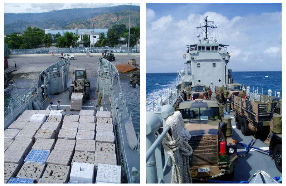 The versatility of the RAN's LCHs during Operation ASTUTE was vital to the success of it. A wide variety of military and humanitarian relief cargo was carried by the LCH squadron.