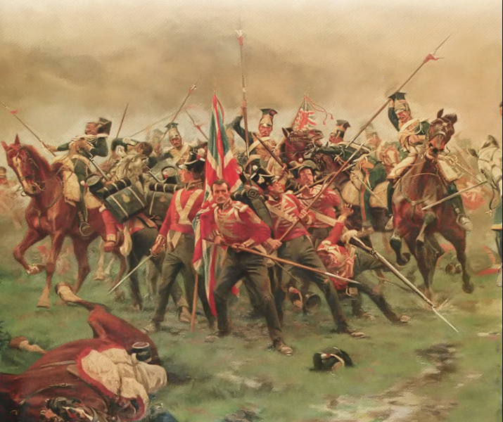 The 3rd Regiment of Foot (the Buffs) defending the colours at the Battle of Albuhera.