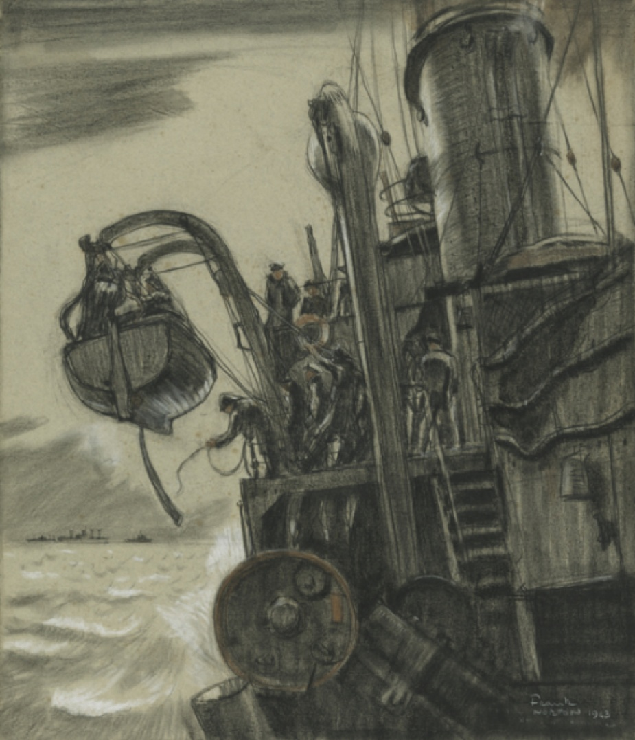 While engaged in anti-submarine duties off Fremantle, the ship's motor boat makes a trip to Fremantle to collect the mail, etc, when opportunity offers. The drawing, by Frank Norton, shows the boat being hoisted inboard on return to Horsham. Escorted by HMAS Dubbo, a convoy of Liberty ships are seen in the distance leaving WA, circa 1943. (AWM ART21085)