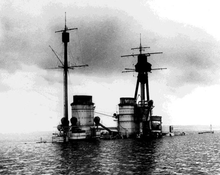 The upper works of the German battlecruiser Hindenburg following her scuttling in Scapa Flow in 1919.