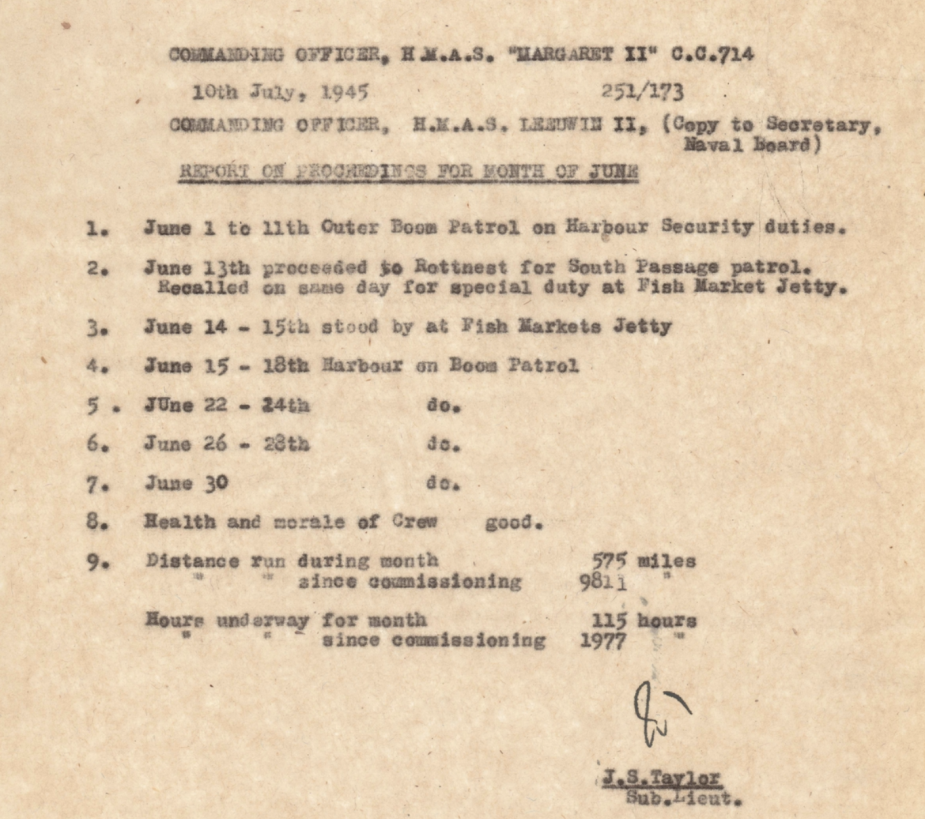 Reports of Proceedings submitted by the Commanding Officer of HMAS Margaret II can be found at: https://www.awm.gov.au/collection/C1421001?image=4 (AWM collection)