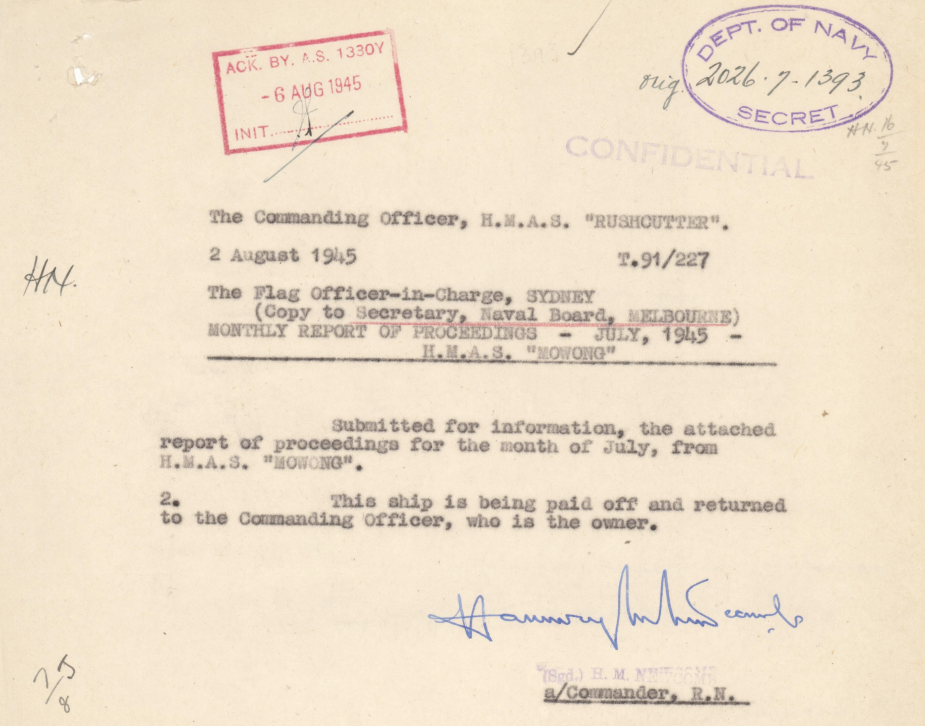 Reports of Proceedings submitted by the Commanding Officer of HMAS Mowong can be found at: https://www.awm.gov.au/collection/C1421136?image=1 (AWM collection)