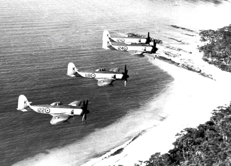 Sea Furies in formation from HMAS Sydney.