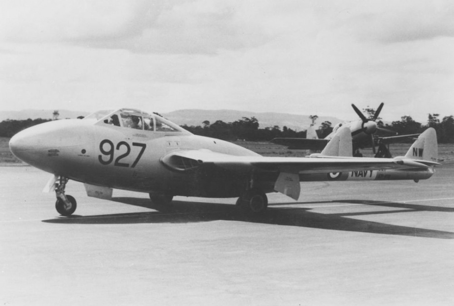 A RAN Sea Vampire on the ground at NAS Nowra.