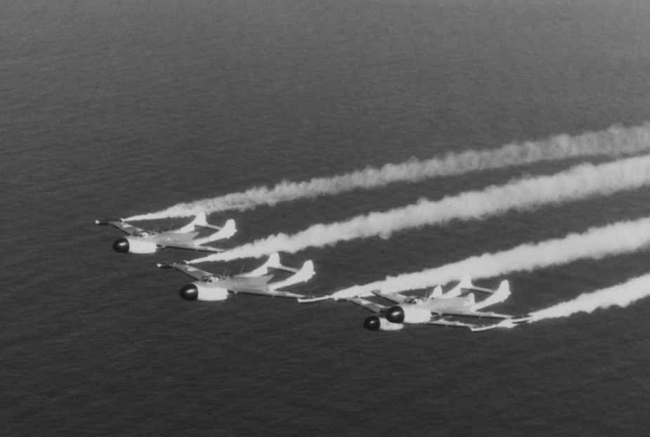 RAN Sea Venoms putting on an aerial display.