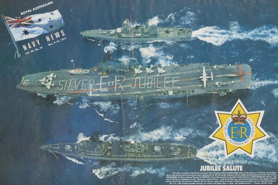 HMAS Melbourne celebrates the silver jubilee of Her Majesty Queen Elizabeth II, 1977.