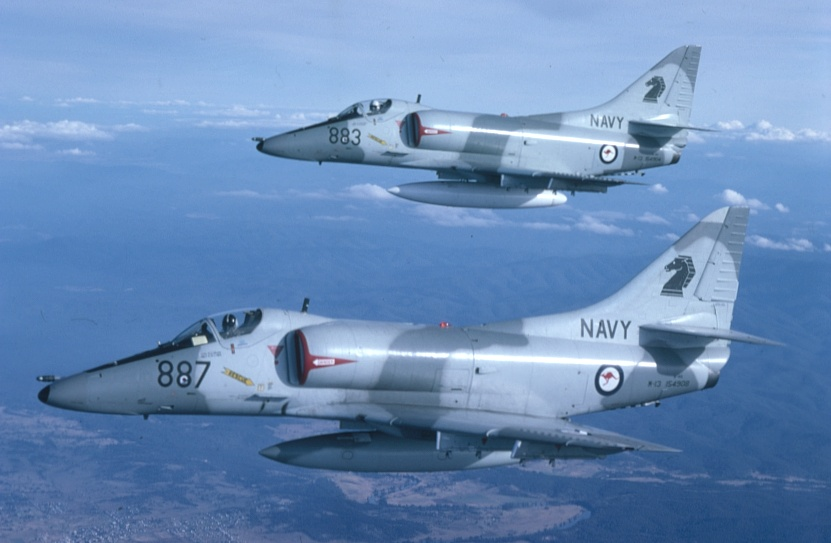 Two A4-G Skyhawks in formation, circa 1981.