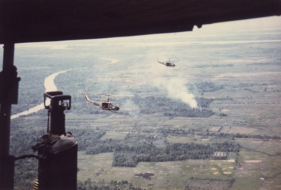 Aircraft of the 135th AHC during air mobile operations in South Vietnam.