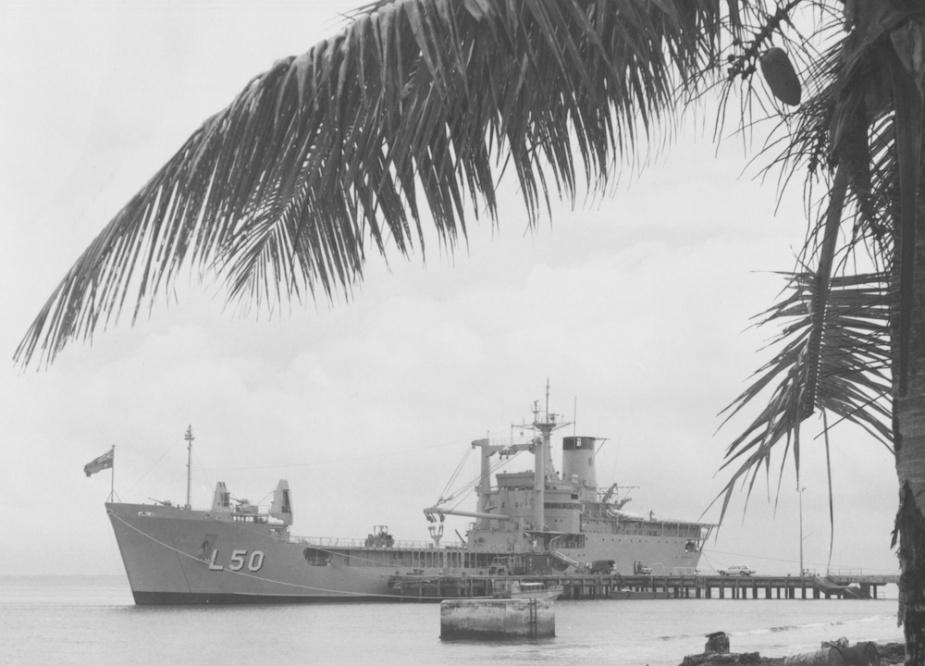 Tobruk alongside at Funafuti, Tuvalu, for the South Pacific Forum, 1984.
