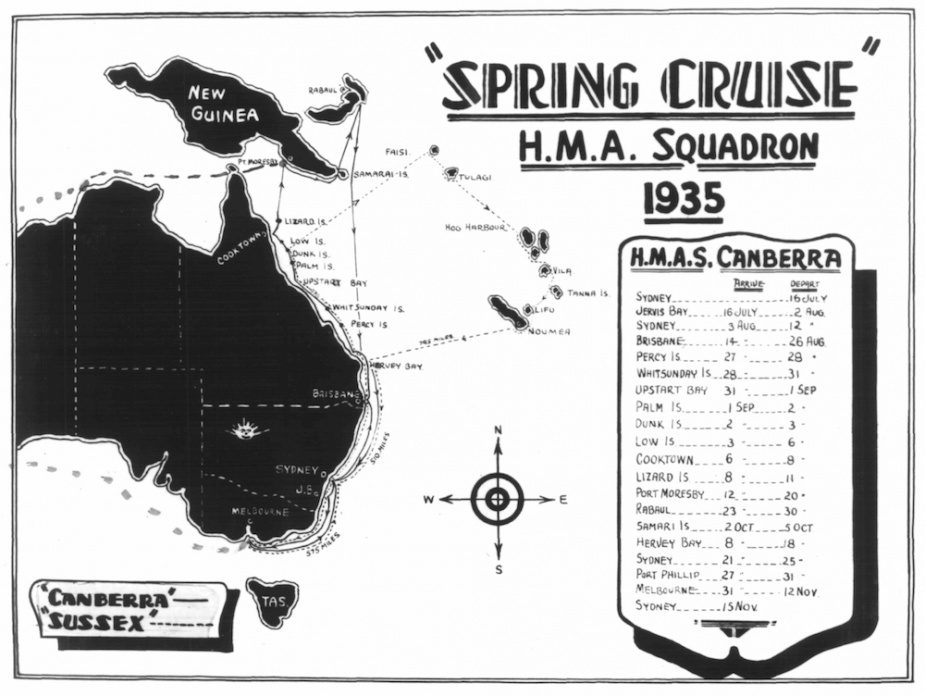 Peacetime saw Canberra conduct a number of spring training cruises to neighboring Pacific countries