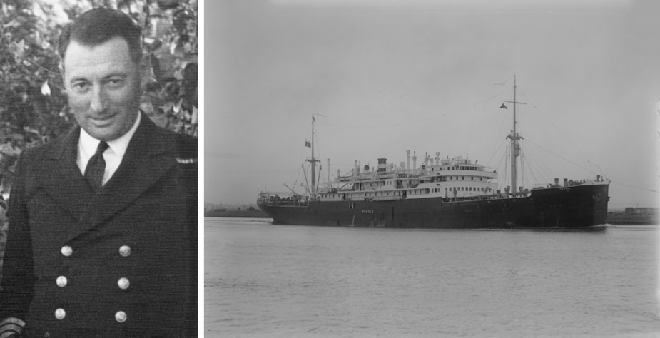 Left: Manoora's captain, Commander Arthur H. Spurgeon, RAN. Right: The Italian liner Romolo.