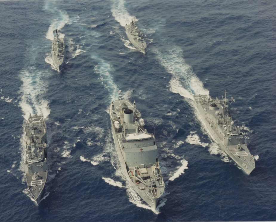 Stalwart at sea in company with Canberra, Sydney, Yarra and Stuart