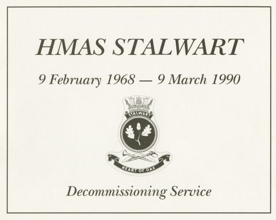 HMAS Stalwart's decommissioning booklet