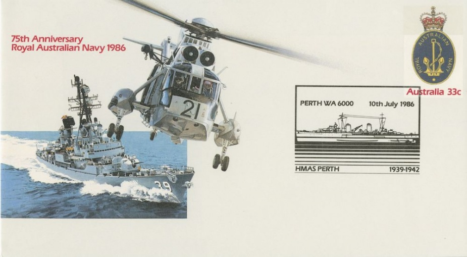 An example of one of the First Day Covers launched onboard Stalwart in Fremantle commemorating the RAN's 75th anniversary