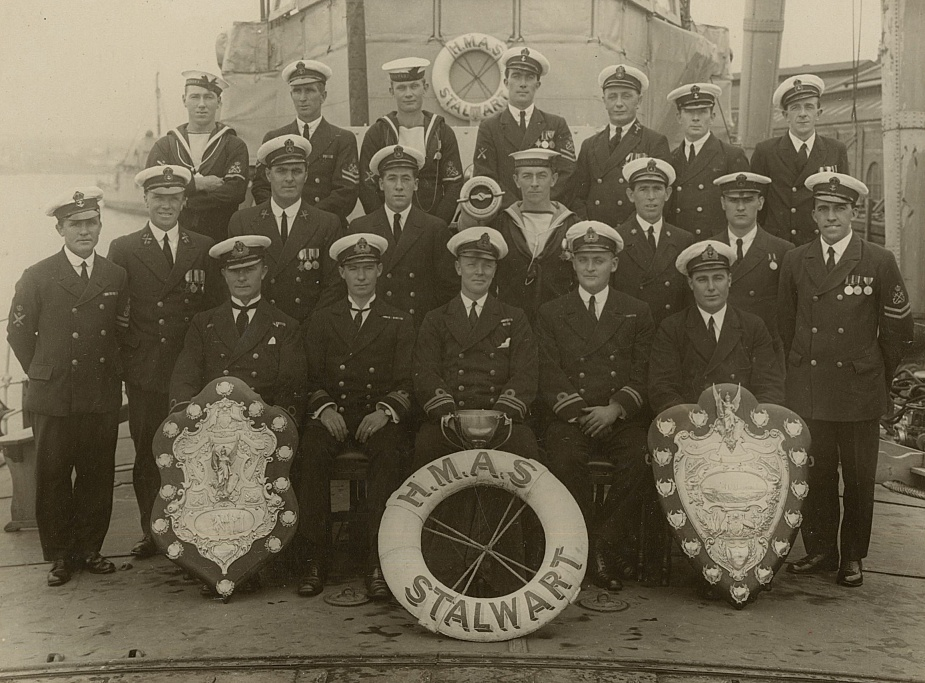 A rare photograph of both original Otranto Shields, seen here onboard HMAS Stalwart (I) in 1924. (Cant collection)