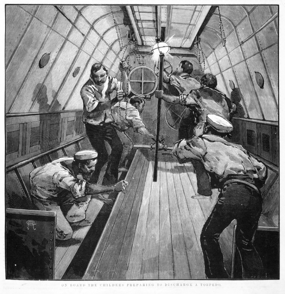 Artwork by David Syme, illustrates the crew onboard Childers preparing to discharge a torpedo. (State Library of Victoria)