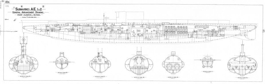 HMA Ships AE1 and AE2 General Arrangement Drawing (Starboard Elevation and Sections). Download original file (15.3 MB).