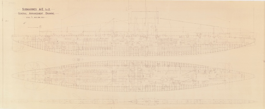 HMA Ships AE1 and AE2 General Arrangement Drawing. Download original file (40.8 MB)