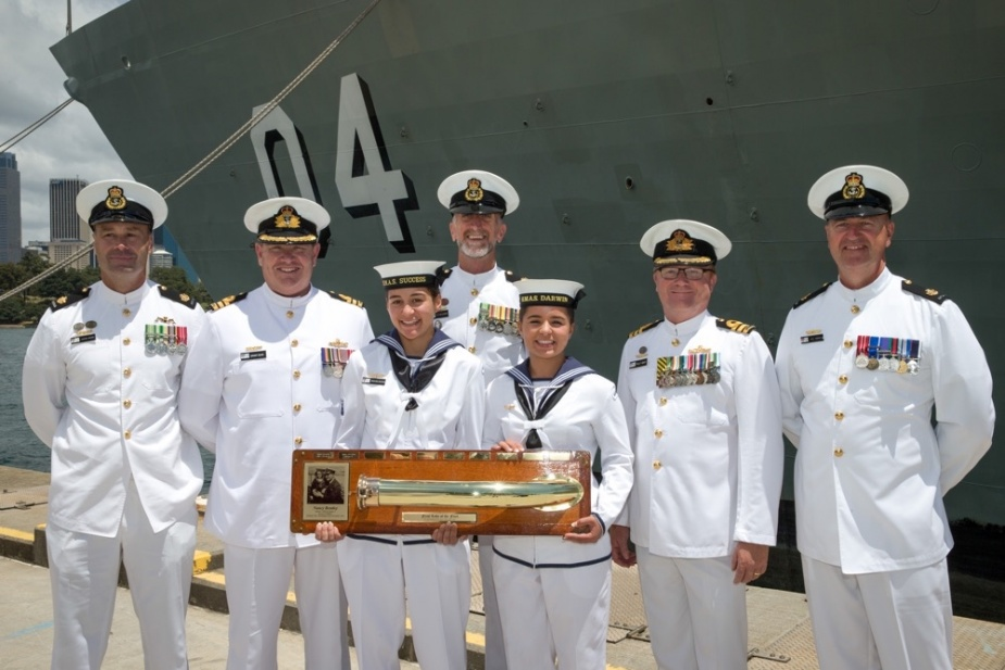 HMAS Darwin passes on 'The First Lady' to HMAS Success, as they become the longest serving ship in the fleet, after the decommissioning ceremony for HMAS Darwin at Fleet Base East, Sydney.