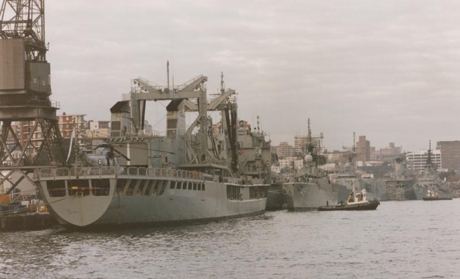 HMAS Success alongside in her home port, Fleet Base East, circa 1993.