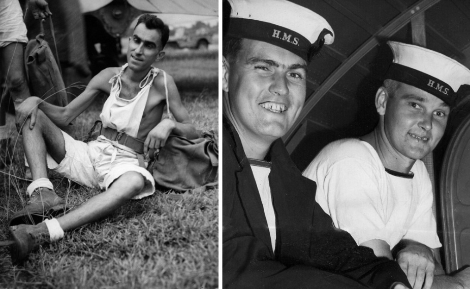 Left: Survivor of HMAS Perth, Bandsman G. Vanselow Right: HMAS Perth Survivors, Telegraphist W.B. Price and Able Seaman Elliott