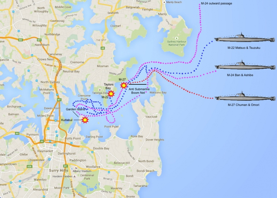 The tracks of the three midget submarines through Sydney Harbour