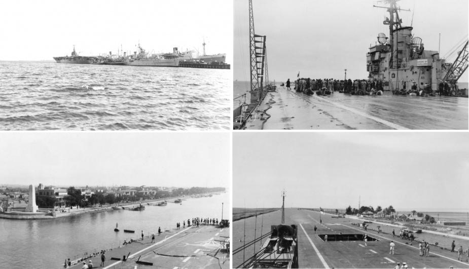 Top left: Sydney alongside Princes Pier, Melbourne with HMNZS Black Prince ahead of her. Top right: The Australian coronation contingent assembling on Sydney's flight deck. Bottom: Sydney navigates the Suez Canal en route to England.