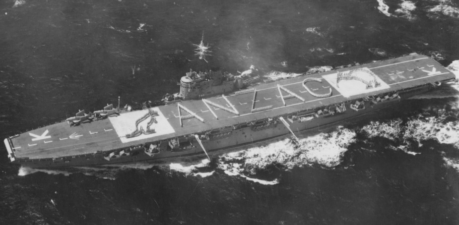 On arrival at New Zealand the word ANZAC was spelt out using Sydney's ship's company and embarked forces.