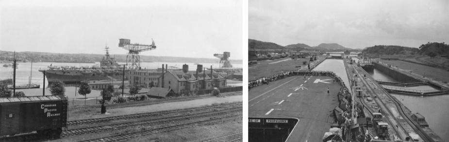 Left: HMAS Sydney (III) berthed in Halifax, Nova Scotia. Right: Sydney negotiating the locks of the Panama Canal.