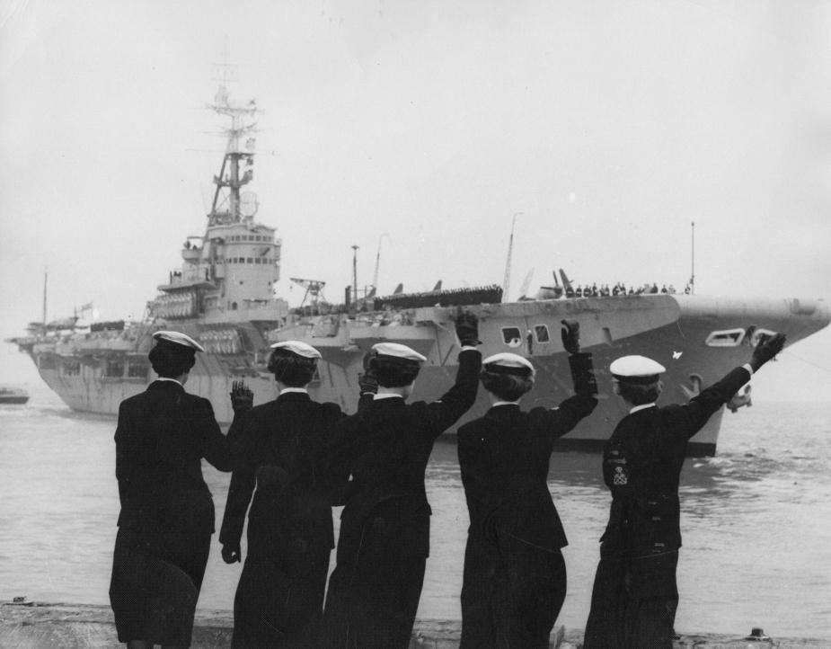 Sydney is farewelled as she leaves port, 10 November 1954.
