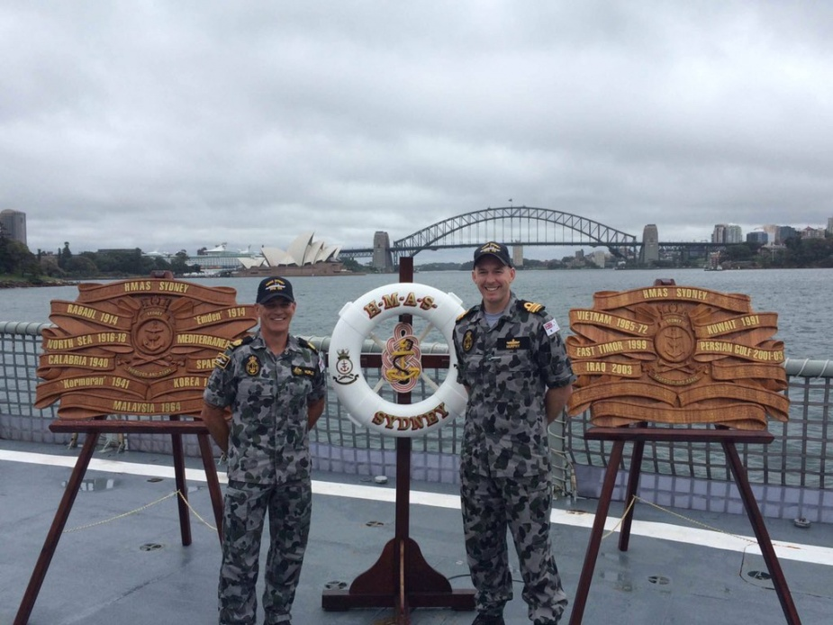 The two battle honour boards carried by HMAS Sydney (IV) displaying the awards made to all RAN ships to have carried the name of Australia's largest city.