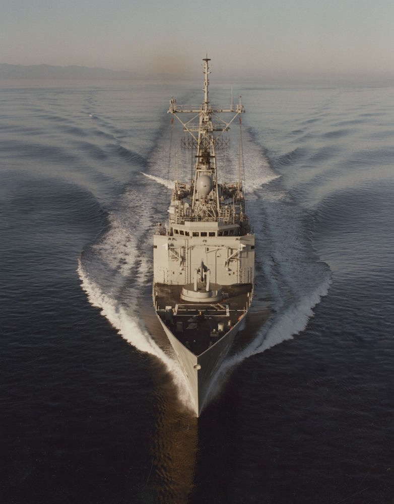 Sydney conducting builder's sea trials off the west coast of the USA in October 1982.